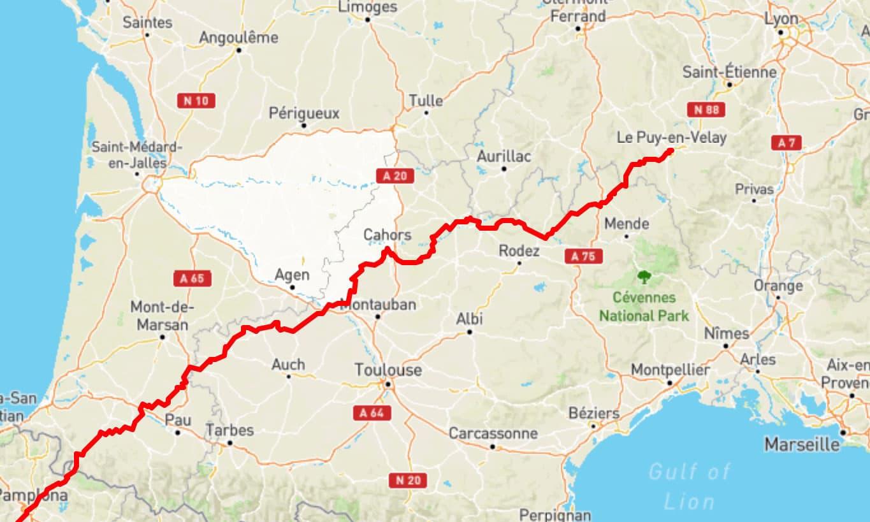 Carte tracé itinéraire Via podiensis